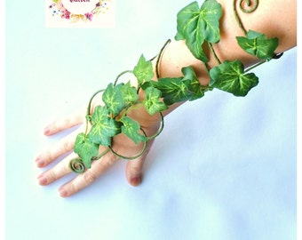 Poison ivy arm cuff slave bracelet green fairy arm cuff whimsical woodland mother nature tree people