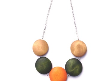 Statement Necklace - Chunky Necklace - Orange Necklace - Fall fashion - Wood Beads - Wood Necklace - Fall wedding - Bridesmaid Jewelry