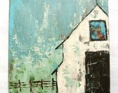 "White Barn Church Original Painting on Wood.  Titled: ""Easy Like Sunday Morning"" 12 by 12 Inches"