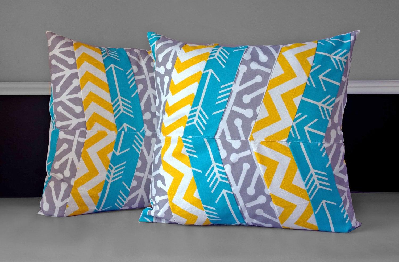 Pillow Covers Turquoise Yellow Grey Herringbone Multi-print