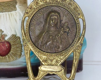 Vintage St THERESE  French Metal Easel Shrine-  Perfect for your religious altar