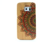 Natural Cherry Wood Samsung Galaxy S6 edge case Painted Mandala - NWS6E001