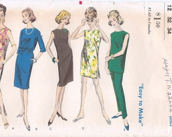 Versatile Vintage 1960s Vogue 5881 Straight Chemise Shift Dress or Tunic, Slim Pants and Shorts Sewing Pattern B32 W25