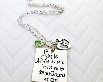 New Baby Birth Stat Jewerly - Hand Stamped New Mommy Necklace - Baby's Birth Stats - Hand Stamped Jewelry - Personalized - The Charmed Wife