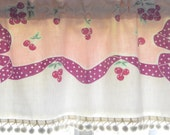 Vintage Tablecloth Valance . Bows . Polka dots . Pom Pom Trim . Pink and Purple . Super Cute by Pretty Little Valances