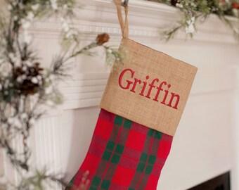 Holiday Plaid Stocking, Personalized Christmas stockings, Burlap Christmas stocking, family Christmas stocking,