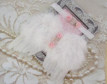 White Feather Angel Wings for baby AND/OR Matching Headband, or Pink Wings, photos, photographer, baby girls by Lil Miss Sweet Pea Boutique