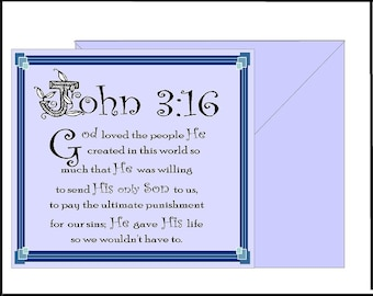 DIGITAL Printable Art John 3:16 Bible Art, Love Verse Christian Home Decor Instant Downloadable File, Valentine Gift , Wall Art DG-802