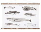 SALE -50% - Gold Edition Whales Poster - black and white and golden wood illustration poster limited edition