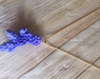 Purple branch coral necklace