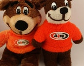 Rooty Bear Vintage 1970s A&W Root Beer Plush Mascot Stuffed Animal Lot of 2