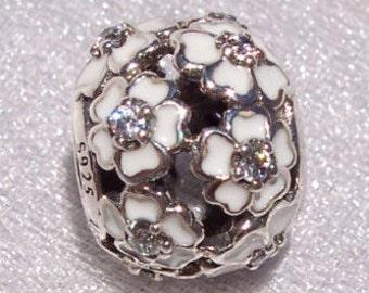 Primrose Meadows White Enamel Clear CZ Spring 2015 Genuine Pandora Bracelet Charm FREE SHIPPING