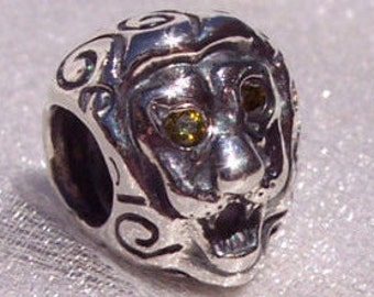 Lion Head, PANDORA Rare Retired Citrine Eyes High Fashion Bracelet Charm FREE SHIPPING
