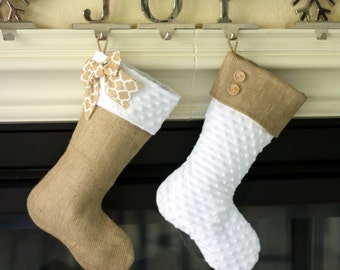 Set of Two (2) White Minky and Burlap Christmas Stockings