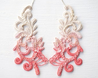 Ivory and Coral Ombre Lace Necklace Bib