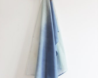 Blue Silk/Cotton scarf, blue/green/torquoise scarf, blue ombre, summer scarf, wrap