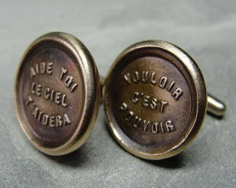 Wax Seal Cufflinks - inspirational motivational motto cuff links in bronze from antique French wax seal
