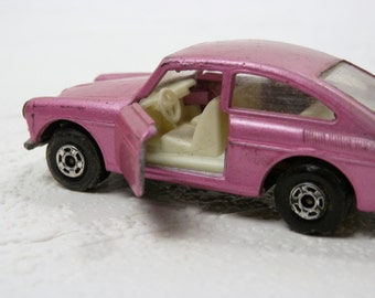 Vintage Matchbox Car Volkswagen 1600 TL Series no. 67 Lavender Pink Car with Doors that Open by Lesney