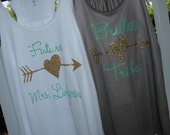 6 Personalized Bride and Bridesmaids Racer Back Tank Tops - Bride's Tribe, Arrow