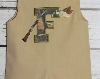Boys Shortall Longall Jon Jon Romper Duck Hunting Take Me Home First Birthday Outfit Camouflage