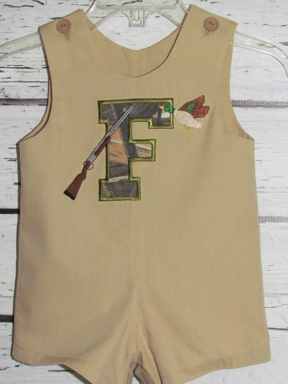 Boys Shortall Longall Jon Romper Duck Hunting Take Me Home First Birthday Outfit Camouflage