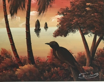 1970 Original Art Oil Painting Sunset with Sailboat in background Bird in foreground  by H. Dominquez  16 x 12 Florida Highway Men Like