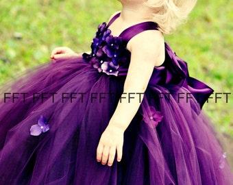 Plum Eggplant Floral Flower Girl Dress