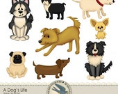 """Digital Clip art Pack Instant Download - """"A Dog's Life"""" - chihuahua, pug, dachshund, terrier,and more for scrapbooks, crafts, cards, invites"""