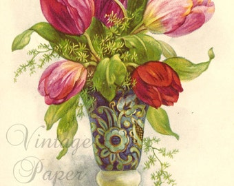 Tulips in Fancy Art Nouveau Vase Antique French Chromo Postcard Post Card from Vintage Paper Attic