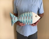 Fish Pillow - Coastal Decor - Nautical Nursery - Beachy Pillow - Childrens Decor