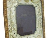 Leather Hanging Picture Frame with Silk Embroidered Mat Liner
