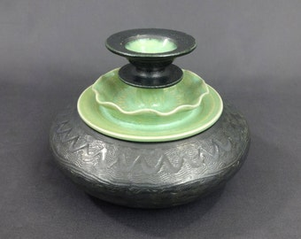 "Ceramic Jar in Metallic and Light Green. 4 1/2"" T x 6"" W. Ceramics & Pottery. Handmade. Stoneware. Vessel. Container. Home decor."