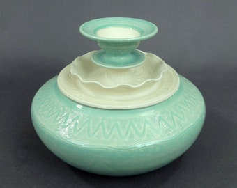 "Ceramic Jar in Sea Green and Matte White. 4 1/2"" T x 6"" W. Ceramics & Pottery. Handmade. Stoneware. Vessel. Container. Home decor. Mermaid"
