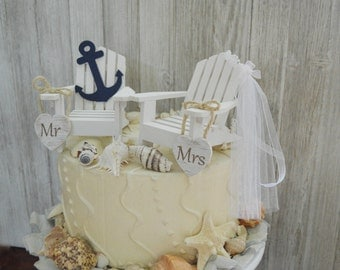 anchor navy nautical wedding cake topper beach chairs navy blue white Mr&Mrs wedding sign destination beach themed bride groom starfish