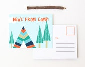 Camp Postcards Boys Summer Camp Stationary Notes from Camp Letters From Camp Note Cards Children Stationery for Kids Boy Teepee Tent