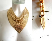 70s Whiting and Davis Gold Mesh Bib Necklace - mint condition