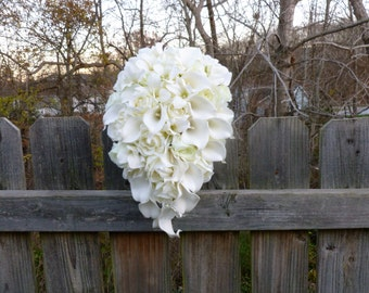 Ivory, cream cascading bridal bouquet, calla lily, rose, orchid cascade bride bouquet with artificial flowers, silk flowers,real touch calla