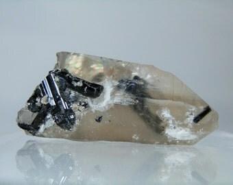 Collectible Quartz Mineral 28.29 grams Black Schorl Tourmaline and Quartz Crystal Mineral Specimen Minas Gerais Brazil DanPickedMinerals