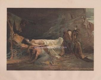 Death Of Minnehaha-1890 Antique Vintage Art PRINT-Longfellow's Hiawatha-Native American Indian-Loss Of Beloved-Nokomis-Spirit-Ghost-Mourning