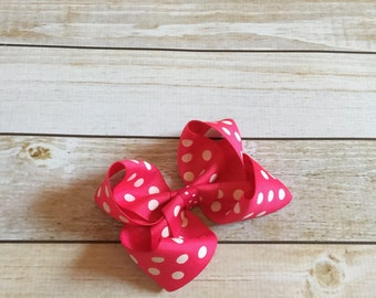 Hot Pink and White Polka Dot Boutique Style Hair Bow