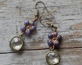 Purple Flower Earrings Rustic Vintage Bohemian Simple