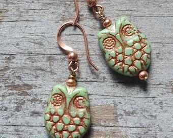 Owl Earrings Green Copper Small Rustic Simple Earrings