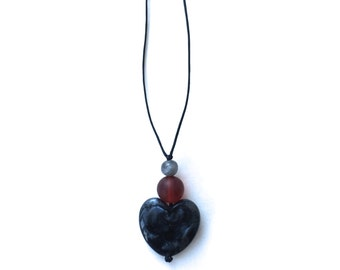 Nursing Necklace - Breastfeeding Necklace - Nursing Beads - Aphrodite Resin Heart - Black, Grey, Silver, Burgundy, Maroon, Red