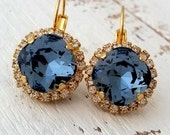 Navy Blue earrings,Navy blue drop earrings,Swarovski crystal earrings,Navy blue bridal earrings,Navy blue bridesmaid earrings,Blue wedding