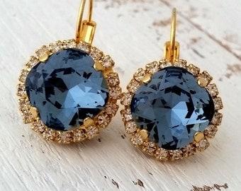 Navy Blue earrings,Navy blue drop earrings,Swarovski crystal earrings,Navy blue bridal earrings,Navy blue bridesmaid earrings,Blue wedding