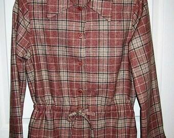 SAlE 80% Off Vintage 1960s Ladies Pink & Gray Plaid Wool Blazer Small Medium Homemade Now 1.20 USD