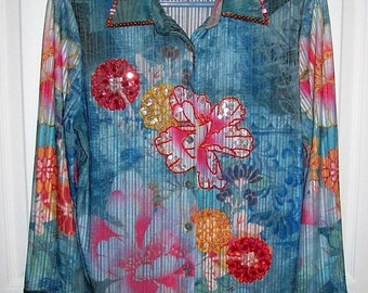 Vintage Blue Floral Sequins Art Blouse by Love Amour Size 3 Only 7 USD