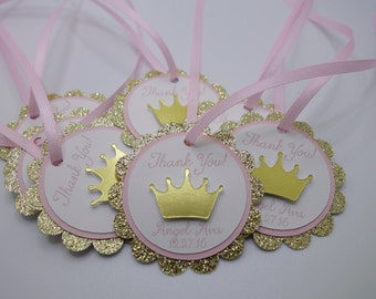 Pink and Gold Crown Thank You Tag, Pink and Gold Sparkle Gift Tag, Gold Tiara Tag, Princess Favor Tag, Blush and Gold Sparkle Tag, Gold Tag