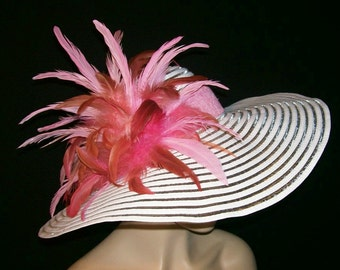 White and Pink Wide Brim Hat - Kentucky Derby Hat, Garden Party Hat or Victorian Tea Party