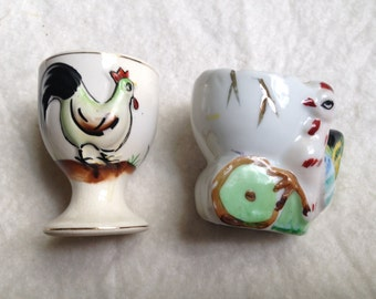 Set of Two Japanese Rooster Egg Cups